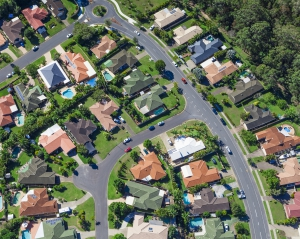 Aerial view of australian suburban houses